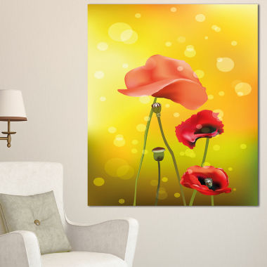 Designart Red Flowers On Yellow Background FloralCanvas Art Print