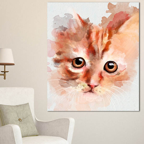 Design Art Red Watercolor Kitten Sketch Animal Canvas Art Print - 3 Panels