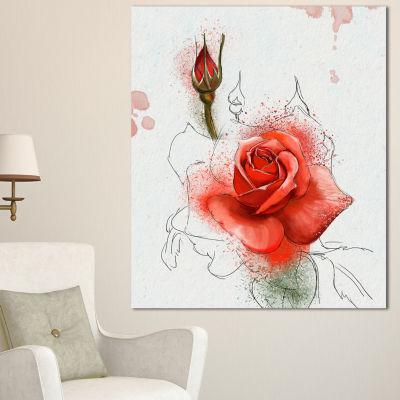 Designart Red Watercolor Rose Sketch Floral CanvasArt Print