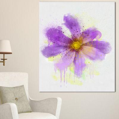 Designart Purple Flower With Large Petals FlowersCanvas Wall Artwork - 3 Panels