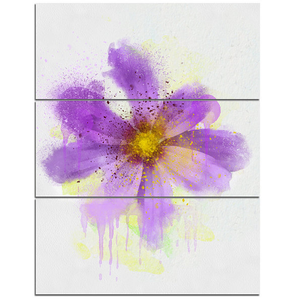 Design Art Purple Flower With Large Petals FlowersCanvas Wall Artwork - 3 Panels