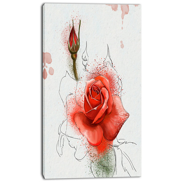 Designart Red Watercolor Rose Sketch Floral CanvasArt Print