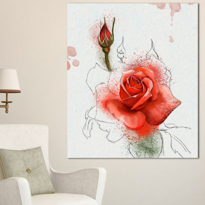 Designart Red Watercolor Rose Sketch Floral CanvasArt Print - 3 Panels