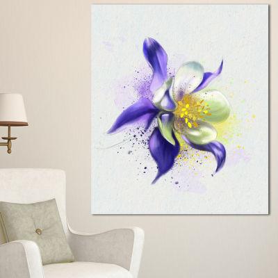 Designart Purple Flower With White Petals FloralCanvas Art Print
