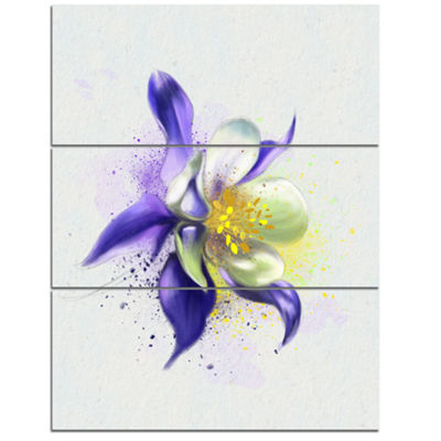 Designart Purple Flower With White Petals FloralCanvas Art Print - 3 Panels