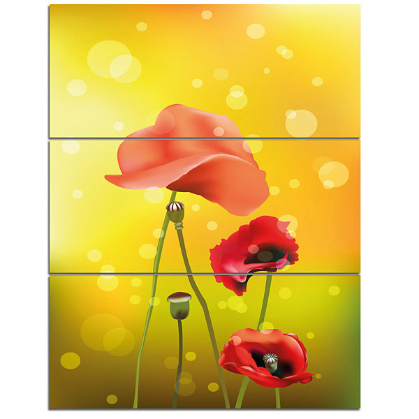 Designart Red Flowers On Yellow Background FloralCanvas Art Print - 3 Panels