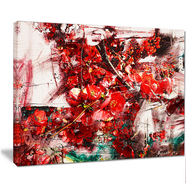 Designart Red Flowers Texture Watercolor Large Abstract Canvas Artwork