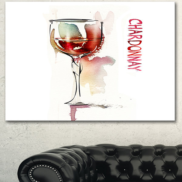 Designart Red Wine On White Background Contemporary Canvas Art Print
