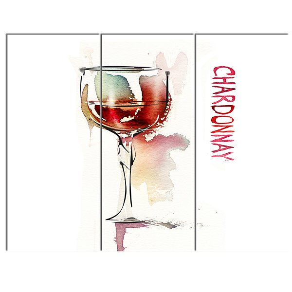 Designart Red Wine On White Background Contemporary Canvas Art Print - 3 Panels