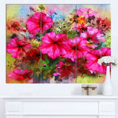 Designart Purple Flowers Composition Watercolor Floral Art Canvas Print - 3 Panels