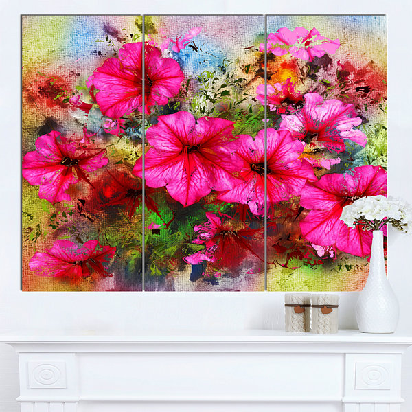 Design Art Purple Flowers Composition Watercolor Floral Art Canvas Print - 3 Panels
