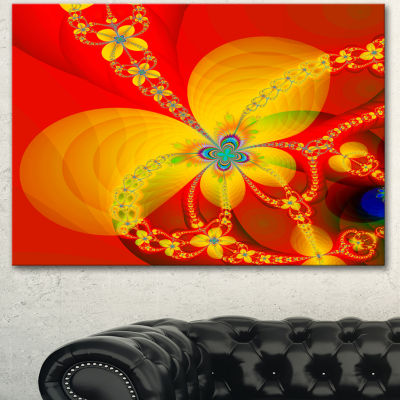 Design Art Red Yellow Colorful Fractal Pattern Floral Canvas Art Print