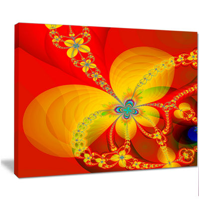 Designart Red Yellow Colorful Fractal Pattern Floral Canvas Art Print
