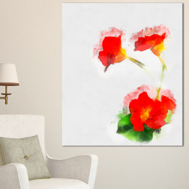 Design Art Red Gentiana Alpina Watercolor Floral Canvas Art Print