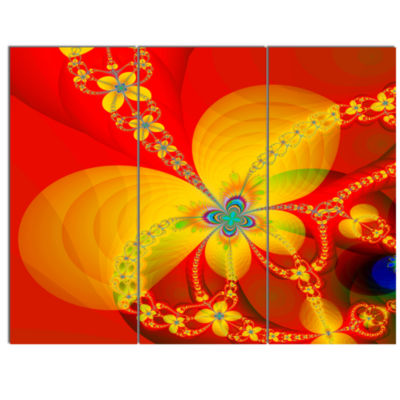Designart Red Yellow Colorful Fractal Pattern Floral Canvas Art Print - 3 Panels