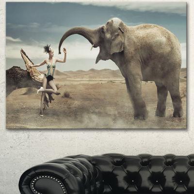 Design Art Sexy Lady With Elephant Animal Canvas Art Print - 3 Panels