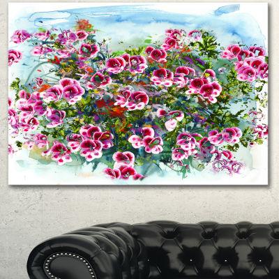Design Art Purple Flowers Watercolor IllustrationFloral Art Canvas Print - 3 Panels