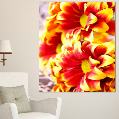 Designart Red Yellow Flower Background Photo LargeFloral Canvas Artwork