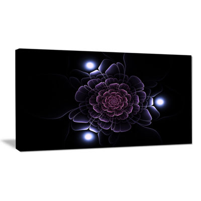 Designart Purple Fractal Flower On Dark Floral Canvas Art Print