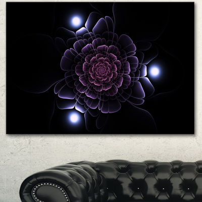 Designart Purple Fractal Flower On Dark Floral Canvas Art Print - 3 Panels