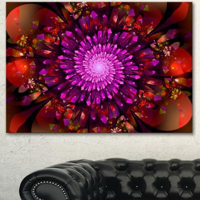 Designart Purple Glowing Crystals In Space FloralCanvas Art Print - 3 Panels