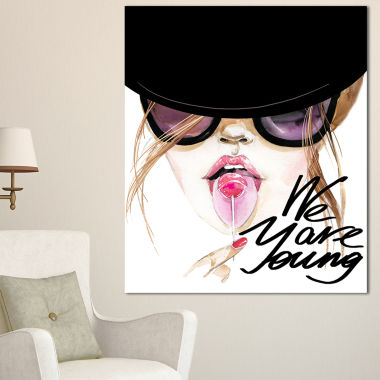 Designart Sexy Young Girl With Lollipop Modern Portrait Canvas Art