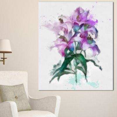 Designart Purple Lilies Illustration Drawing Floral Canvas Art Print - 3 Panels