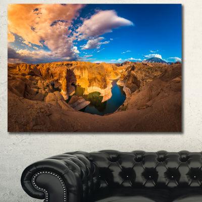 Design Art Reflection Canyon Lake Powell LandscapeCanvas Art Print - 3 Panels