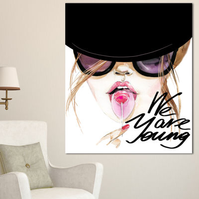 Designart Sexy Young Girl With Lollipop Modern Portrait Canvas Art - 3 Panels