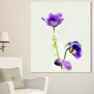 Designart Purple Liverleaf Flower Watercolor Floral Canvas Art Print