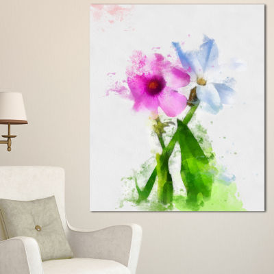 Designart Purple Mallow And Blue Chamomile FloralCanvas Art Print