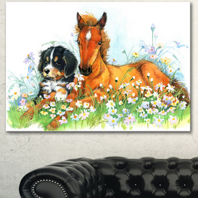 Designart Relaxing Brown Cute Horse Animal CanvasArt Print - 3 Panels