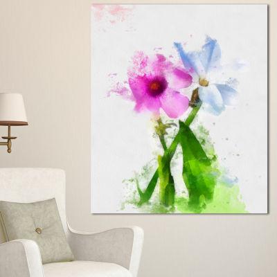 Designart Purple Mallow And Blue Chamomile FloralCanvas Art Print - 3 Panels