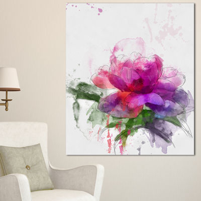 Designart Purple Peony Illustration Sketch FlowersCanvas Wall Artwork - 3 Panels