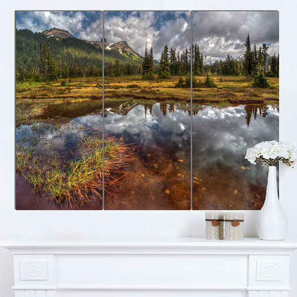 Design Art Shallow Lake Under Cloudy Sky Extra Large Landscape Canvas Art Print - 3 Panels