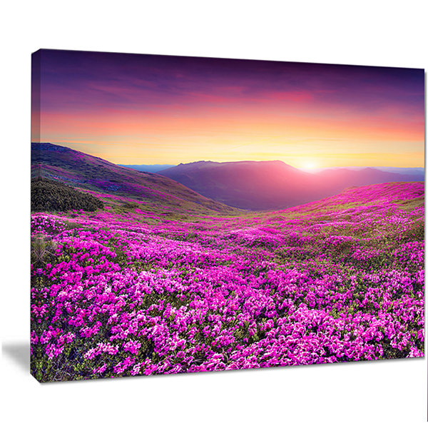Designart Purple Rhododendron Flowers In MountainsLarge Landscape Canvas Art Print
