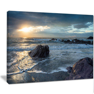 Designart Sharrow Beach In Cornwall Seashore Canvas Art Print