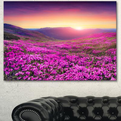 Design Art Purple Rhododendron Flowers In Mountains Large Landscape Canvas Art Print