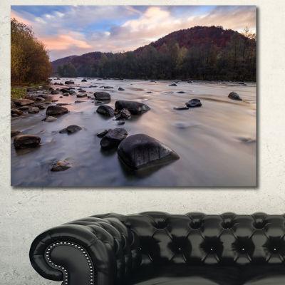 Designart Rocky Mountain River In Autumn SeashoreWall Art On Canvas - 3 Panels
