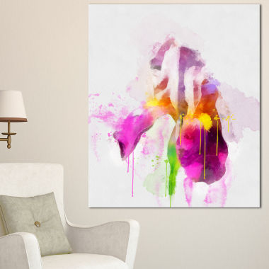 Designart Purple Rose Illustration Watercolor Floral Canvas Art Print