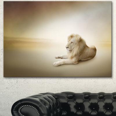 Designart Relaxing King Of Animals Animal CanvasWall Art - 3 Panels