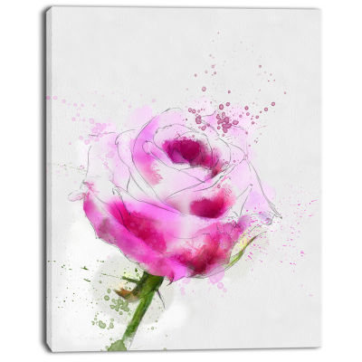 Designart Purple Rose Sketch Illustration Floral Canvas Art Print