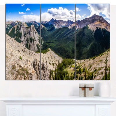 Designart Rocky Mountains Panorama Landscape Canvas Art Print - 3 Panels