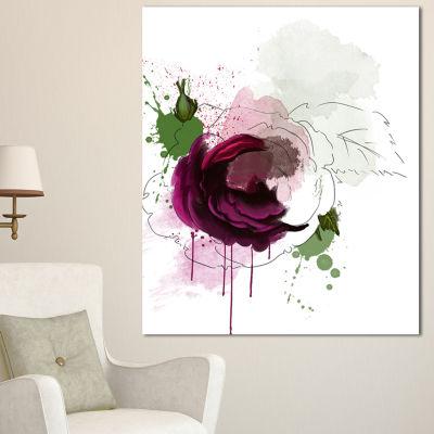 Designart Purple Rose Sketch Watercolor Floral Canvas Art Print