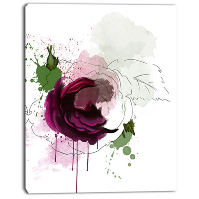 Designart Purple Rose Sketch Watercolor Floral Canvas Art Print