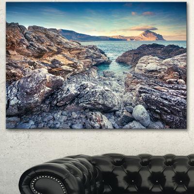 Designart Rocky Reservoir In Monte Cofano Large Landscape Canvas Art Print - 3 Panels
