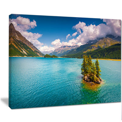Designart Silsersee Lake In The Swiss Alps Large Landscape Canvas Art Print