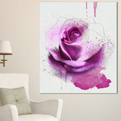 Designart Purple Rose Watercolor Sketch Flower Artwork On Canvas