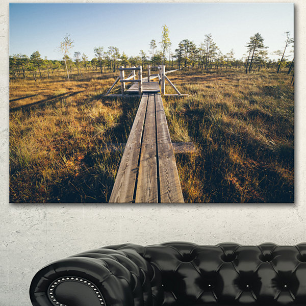 Designart Retro Grainy Film Look Footpath Large Landscape Canvas Art - 3 Panels