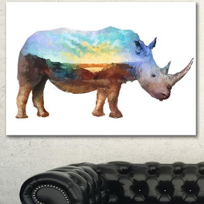 Designart Rhino Double Exposure Illustration LargeAnimal Canvas Art Print